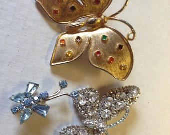 Rhinestone Butterflies Brooches lot 744