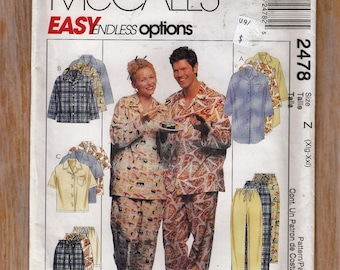 Men's and Women's Pajamas - Summer or Winter PJs - Size Xlg-XXlg Bust 42-48 - Sewing Pattern McCall's 2478 UNCUT
