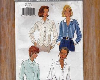 "Womens Tops - Button Down Blouse Long Sleeve- Size 12-14-16 Bust 34-36-38"" Waist 26.5-28-30"" - Sewing Pattern Butterick 4640 UNCUT"