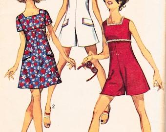 "1960s Misses' Mod Jumpsuit or A-Line Mini Dress Simplicity 8215 Womens Vintage Sewing Pattern Bust 33.5"""