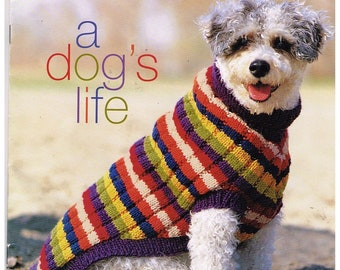 Patons Dog Sweaters, A Dog's Life Knitting Pattern Book #939, 6 Projects, Sizes P, S, M, L, XL, Basic Coat, Stripes, Aran, Checks, 2000