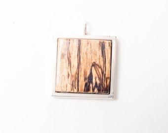 Spalted Oak Silver Pendant