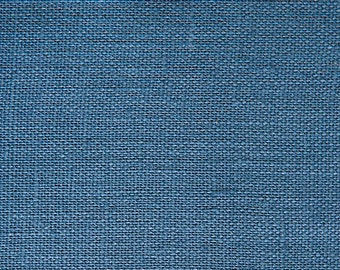 """End of the Roll- SALE - Belgian Linen - Home Furnishing Linen Fabric -Pacific Blue - Medium Weight -  1 piece - 54"""" x 29"""""""