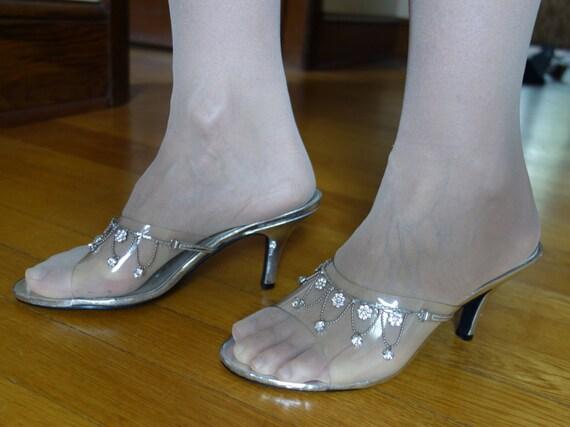 e2f406bee418c2 Bridal sandals slides see through clear PVC metallic silver