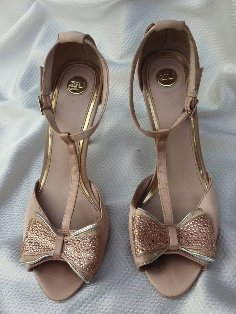 ce6aba9ae311 Sexy nude T-strap stiletto sandals beige satin gold metallic