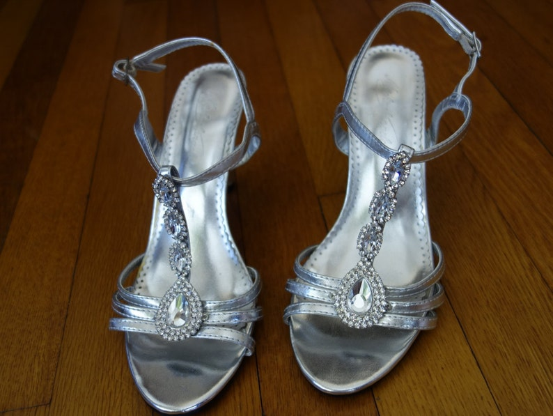 94aec7a40b48 Silver metallic T-strap high heel stiletto sandals rhinestone