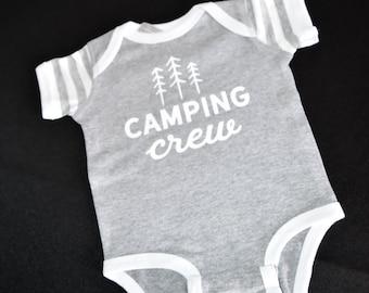 Heathered White Striped Grey Camping Crew Baby Bodysuit RabbitSkins Size 12 mo