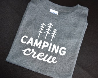 Grey Heathered Camping Crew Toddler T-Shirt Size 5T
