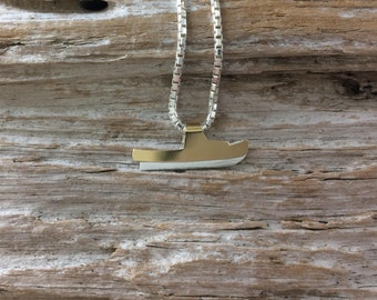 Fishing Boat Small Two Tone Pendant