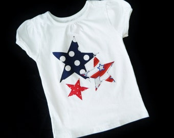 Girl or boy SHIRT patriotic white shirt, navy blue polka dot, red stripe, red dot stars appliques sizes NB - 16, fun for fireworks july 4th
