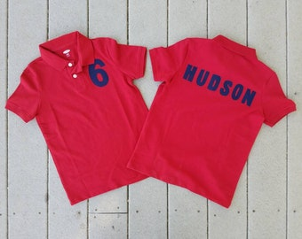 Front and back - Boy, toddler navy, red orwhite polo SHIRT with personalized birthday number, name on back appliques