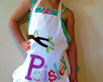 Kid's ruffle personalized funky owl appliqued pretend play apron smock for toys, cooking tools, art supplies - for children 2 to 8