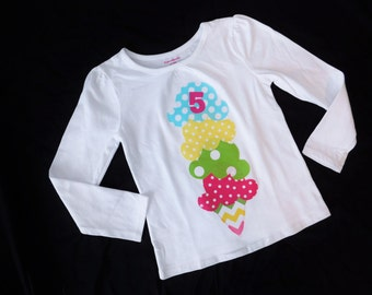 Girl toddler, baby, tween, polka dot personalized tipsy scoops of ice cream cone, pastel pink, green, aqua blue, yellow birthday shirt NB-16