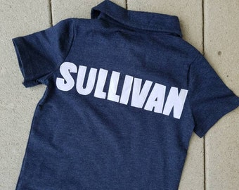 Front and back - Boy, toddler navy, red or white polo SHIRT with personalized birthday number, name on back appliques