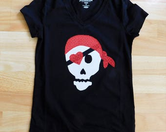 Girl pirate shirt - Tween, girl, toddler, or baby SHIRT black white red sequin bandana and eyepatch on pirate skull applique, kid to adult