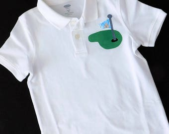 Front and back -Boy, toddler white  polo golf SHIRT with green and argyle blue flag and name, birthday number on back  applique