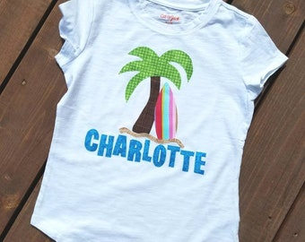 Front and back Summer tropical beach palm tree and surf board personalized name birthday number applique SHIRT 12m - 16