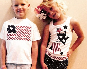 Fourth of July - Girl or boy, SHIRT - patriotic flag or stars red, white, blue applique, NB to size 16 - fireworks 4th of July and summer