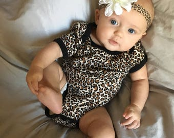 2 piece - Leopard cheetah onesie bodysuit and adorable baby flower headband - feminine animal print outfit for newborn to infant - 18 months