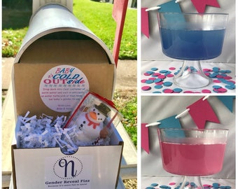 Baby It's Cold Outside! Snowman Gender Reveal Mail Announcement for Out-of-Town Family and Friends | Personalized Gender Reveal by Mail