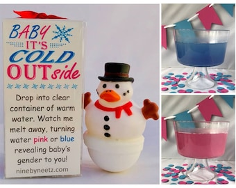 Baby It's Cold Outside! Snowman  Rubber Duck Gender Reveal Fizz Set of 2