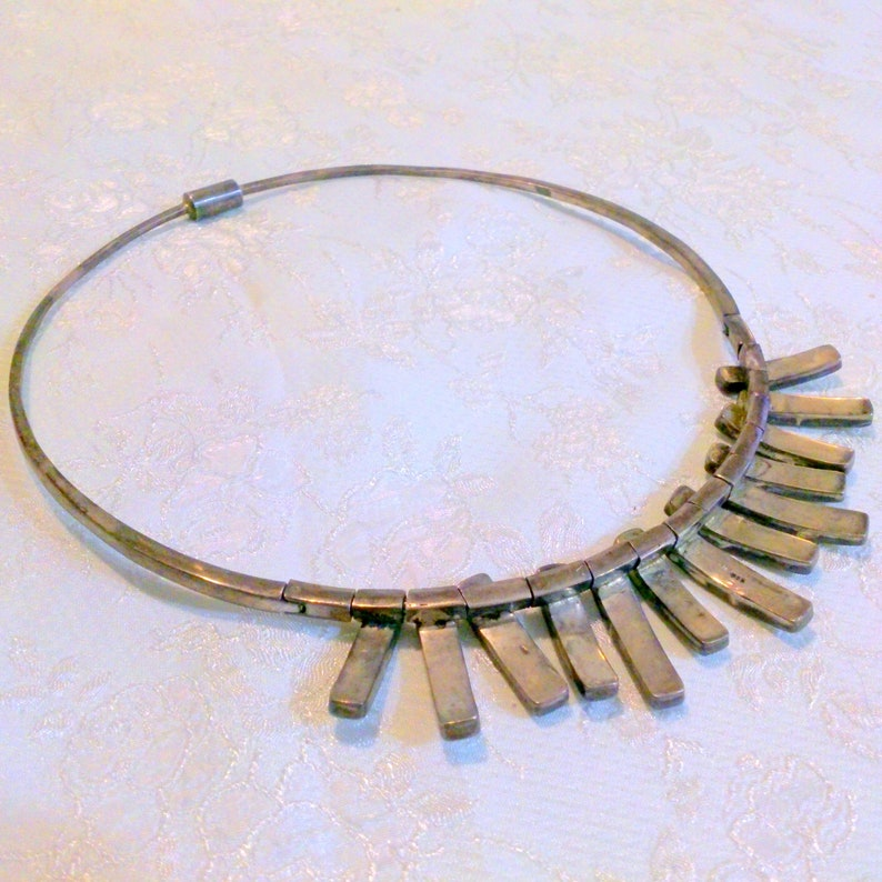 Vintage Sterling Silver Mother of Pearl Artisan Crafted Choker Necklace