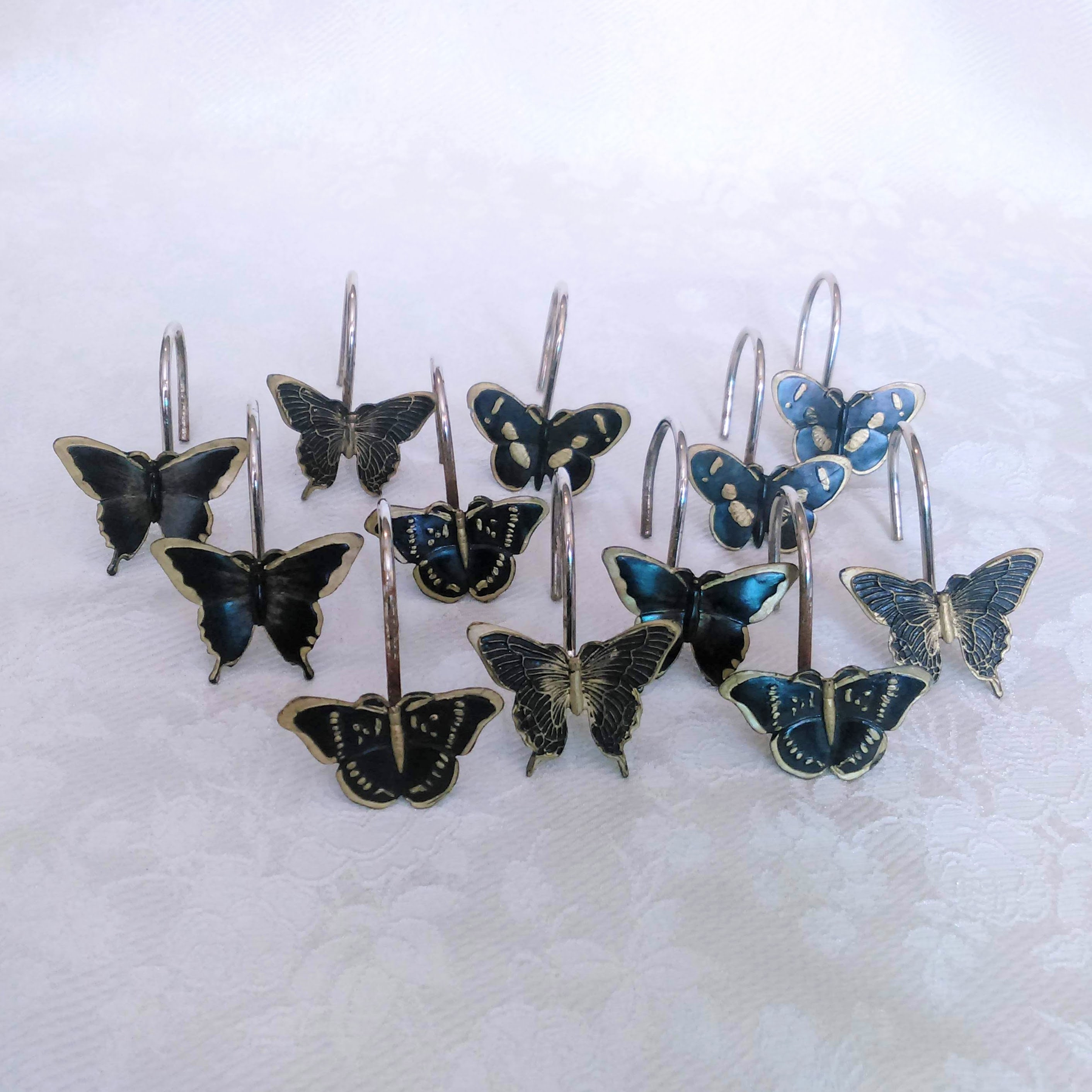 Set Of 12 Shower Curtain Hooks Butterfly Brass And Black Bathroom Home Decor