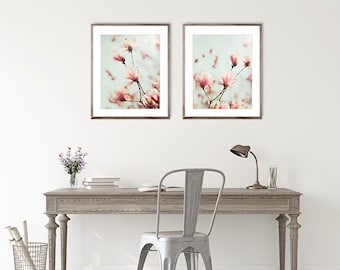 Flower photography set of 2 prints, magnolia picture baby girl nursery art, wall decor print, botanical art pink wall art, girls bedroom