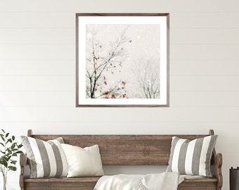 Wall Art, Snow Landscape, Winter Snow Print, Winter Photography, Winter decor neutral decor, snow photo, snow art, white wall art