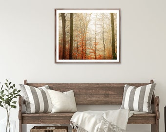 Autumn Print, Fall Decor, Autumn Landscape Print, Fall Landscape Picture, Rustic Home Decor, Farmhouse Decor, Red tree print, fog photo,