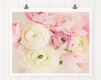 Flower Print, flower photography, home decor, nursery art, pink ranunculus, cottage decor, nursery decor, wall decor, flower photography