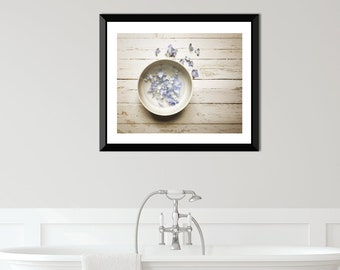 Rustic farmhouse decor, Hydrangea Print, blue and white print, still life photo, flower print, rustic decor, fixer upper decor, wall decor