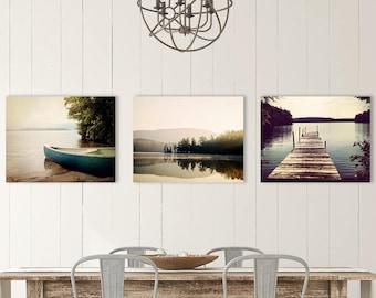 Lake Decor Photo Set of 3 prints, Squam Lake prints, Lake Photography set, dock photo, lake picture, canoe print, lake house, home decor