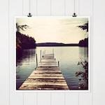 Lake House Decor, Dock Photo, Lake Photography, dock print, wall art, blue lake house decor, water, lake art, wall decor, Squam Lake