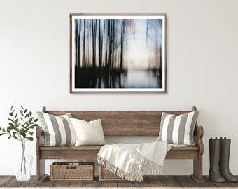 Blue Abstract Lake Art Print, modern nature photography, blurred modern art photo decor wall art, Fine art photography print, moody lake art