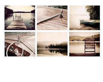Set of 6 lake prints, Lake house artwork decor dock photo, lake picture, lake life, canoe print, rustic cabin decor, chris craft boat art