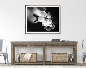 Black and White Flower Wall Art, Black and White photography, black and white flower print, canvas art, Flower Photography, blossom print