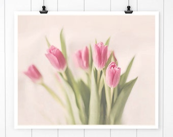 Pink Tulip Print, Flower Photography, pink tulips, bathroom decor, wall art, spring floral print, wall decor, flower print, flower photo