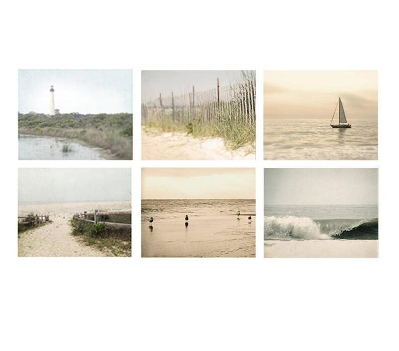 Beach Photo Set of 6 prints beach photography beach decor image 0