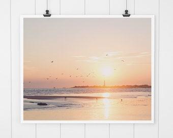 Sunset print, ocean art print, beach wall art, beach decor, ocean print, cape may art print, nature print, wall decor, beach house decor