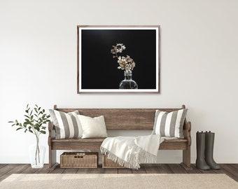 Dark Moody Art Print, modern nature photography, dried hydrangea photo decor wall art, Fine art photography print, minimalist decor