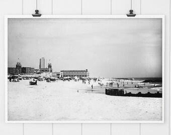 Black and White Wall art, Black and White Beach photography, beach wall art, beach decor, beach print, Asbury Park print, beach house decor,