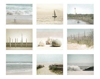Set of 9 prints, Beach house Decor, Ocean Photography, Beach Photography, wall art set of 9 photos, Shell Photo, seashells, beach print