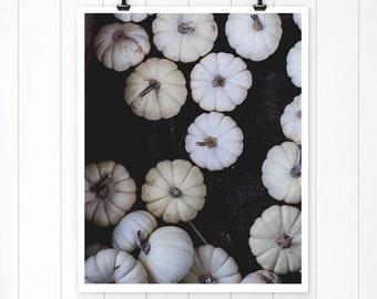 White Pumpkin Print, Nature Print, Autumn Decor, Fall Decor, Autumn wall Print, Fall Landscape, Rustic Home Decor, modern farmhouse wall art
