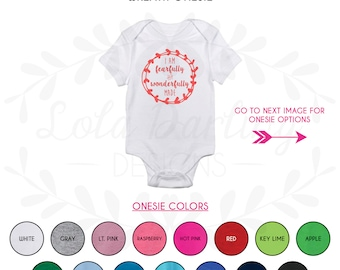 Psalm 139:14 Bible Verse Wreath Heat Press Baby Outfit Bodysuit- Fearfully and wonderfully made