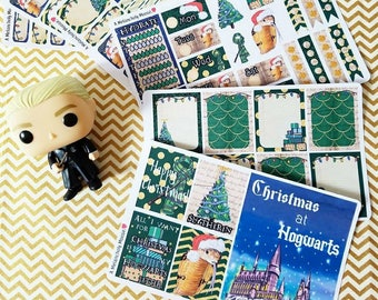 Christmas at Hogwarts- SLYTHERIN inspired, hand drawn weekly sticker kit and boxes for Erin Condren, Happy Planners, TN's & more!