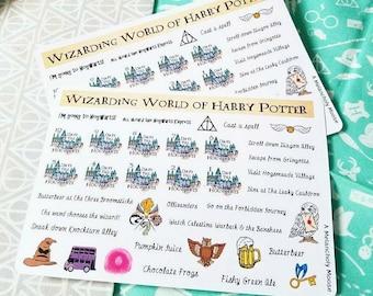 Wizarding World Bucket List Sampler~ Hand Drawn Planner Stickers