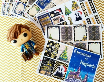 Christmas at Hogwarts- HUFFLEPUFF inspired, hand drawn weekly sticker kit and boxes for Erin Condren, Happy Planners, TN's & more!