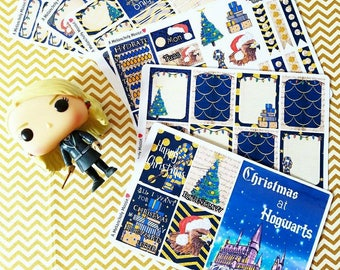 Christmas at Hogwarts- RAVENCLAW inspired, hand drawn weekly sticker kit and boxes for Erin Condren, Happy Planners, TN's & more!