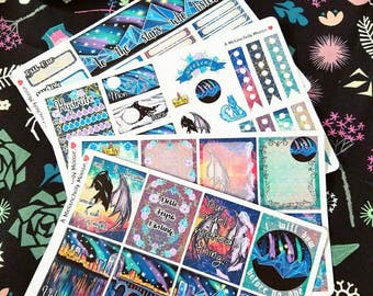 The Night Court- A Court of Mist & Fury / ACOTAR Inspired Hand Drawn Weekly Sticker Kit for Erin Condren Vertical Planners